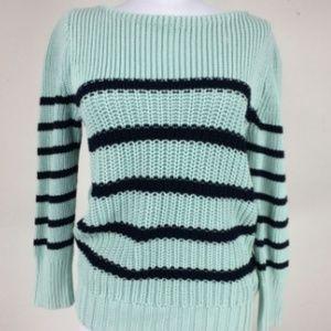 J Crew Mint Green Black Knit Sweater Stripes